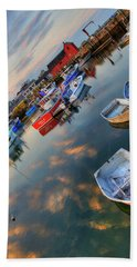 Hand Towel featuring the photograph Rockport Harbor Motif #1  by Joann Vitali
