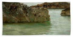 Bath Towel featuring the painting Rocks At Newport by Henry Scott Tuke