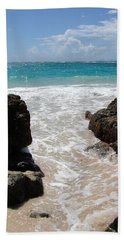 Bath Towel featuring the photograph Rocky Beach In The Caribbean by Margaret Bobb