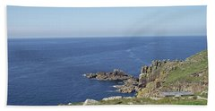 Rocky Coastline At Land's End Bath Towel by Jayne Wilson