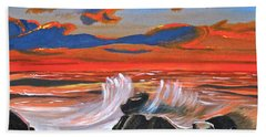 Bath Towel featuring the painting Rocky Cove by Donna Blossom