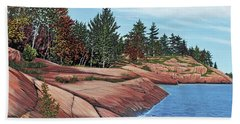 Hand Towel featuring the painting Rocky River Shore by Kenneth M Kirsch