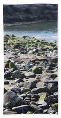 Rocky Shore Of Sand Beach Bath Towel by Living Color Photography Lorraine Lynch