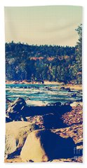 Bath Towel featuring the photograph Rocky Shores Of Lake Superior by Phil Perkins