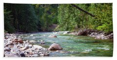 Rocky Waters In The North Cascades Landscape Photography By Omas Bath Towel
