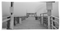 Rod And Reel Pier In Fog In Infrared 53 Bath Towel