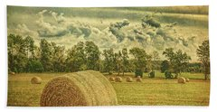 Hand Towel featuring the photograph Rollin' Hay by Lewis Mann