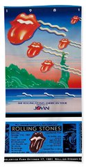 Rolling Stones 1981 Ticket And Poster Hand Towel
