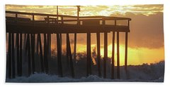 Rolling Waves At The Pier Bath Towel