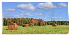 Rolls Of Hay On A Beautiful Day Hand Towel