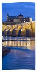 Roman Bridge On Guadalquivir River At Dawn Hand Towel