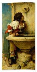 Roman Girl At A Fountain Hand Towel
