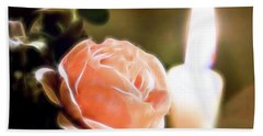Hand Towel featuring the digital art Romance In A Peach Rose by Linda Phelps