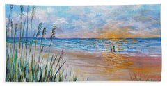 Hand Towel featuring the painting Romantic Beach by Lou Ann Bagnall