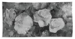 Hand Towel featuring the painting Romantic Large Roses  by Robin Maria Pedrero