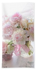 Romantic Shabby Chic Pink White Peonies - Shabby Chic Peonies Pastel Decor Bath Towel by Kathy Fornal