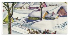 Romantic Winter Ride In Carriage Hand Towel