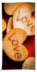 Romantic Wooden Hearts Hand Towel