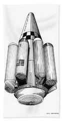 Bath Towel featuring the drawing Rombus Heavey Lift Reusable Rocket by Jack Pumphrey