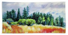 Hand Towel featuring the painting Romp On The Hill by Kathy Braud