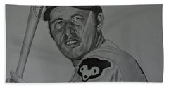 Hand Towel featuring the drawing Ron Santo Portrait by Melissa Goodrich