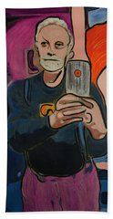 Hand Towel featuring the painting Ron Selfie Portrait 2016 by Ron Richard Baviello
