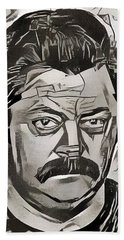 Hand Towel featuring the painting Ron Swanson by Paul Van Scott
