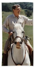 Ronald Reagan On Horseback  Hand Towel