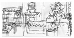 Bath Towel featuring the drawing Room For Christmas by Artists With Autism Inc