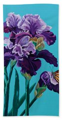 Kim's Iris's With Monarch. Hand Towel