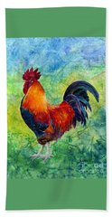 Bath Towel featuring the painting Rooster 2 by Hailey E Herrera