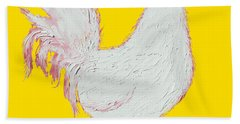 Rooster Art On Yellow Background Hand Towel by Jan Matson