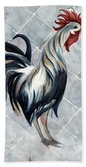 Hand Towel featuring the painting Rooster - Classic Country by Janine Riley