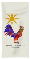 Rooster Pattern Art Hand Towel by Christina Rollo