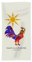 Rooster Pattern Art Bath Towel