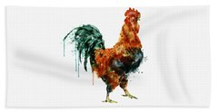 Rooster Watercolor Painting Hand Towel