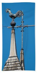 Bath Towel featuring the photograph Rooster Weathervane by Jani Freimann