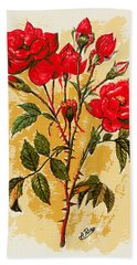 Rosa Mister Lincoln Hand Towel