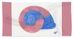 Rose And Blue Shell Bath Towel