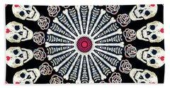 Rose And Bone Mandala Of The Heart Hand Towel