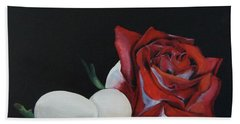 Rose And The Eggs Acrylic Painting Hand Towel