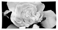 Bath Towel featuring the photograph Rose Black And White by Christina Rollo
