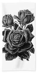 Hand Towel featuring the digital art Rose Black by ReInVintaged
