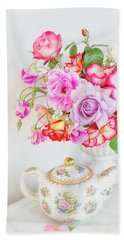 Rose Bouquet And Vintage Teapot Bath Towel