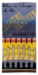 Bath Towel featuring the digital art Rose Bowl Chicago Matches by Reinvintaged