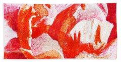 Rose Close Up Watercolor Painting Bath Towel