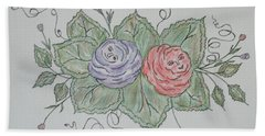 Rose Family Pose Hand Towel by Sharyn Winters