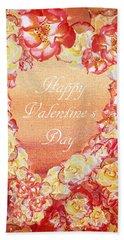 Rose Heart Of Valentine Hand Towel