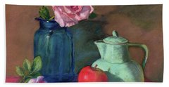 Rose In Blue Jar Hand Towel by Vikki Bouffard