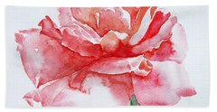 Bath Towel featuring the painting Rose Pink by Jasna Dragun